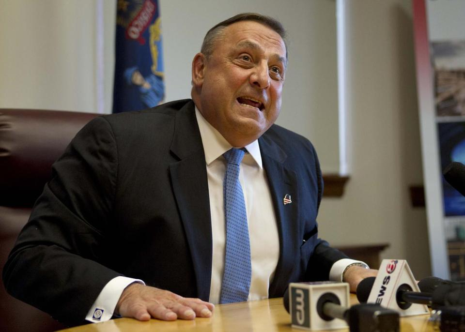 Maine Governor Paul LePage speaks to reporters last week at the State House in Augusta, Maine.