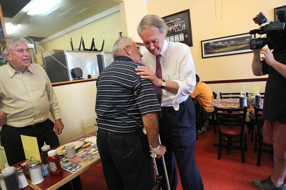 At Dempsey's Breakfast amd Lunch in Medford, Edward J. Markey greeted former state Representative Anthony Giglio,