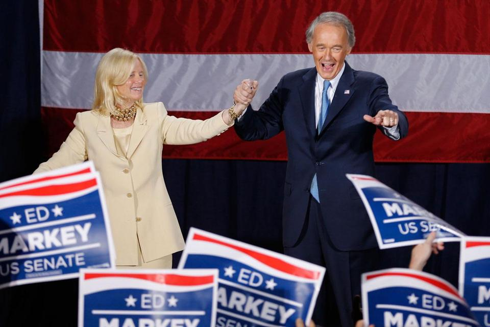 Edward Markey and his wife, Susan Blumenthal, thanked supporters Tuesday night at the Park Plaza Hotel.