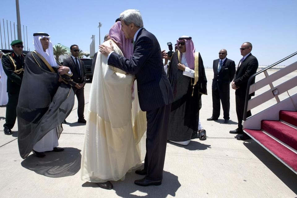 Secretary of State John Kerry, who is on a Middle East tour, met Tuesday with Saudi Foreign Minister Saud al-Faisal.