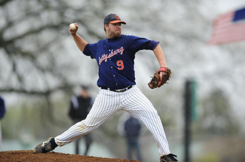 Lexington Blue Sox pitcher Matt Karis, seen in action for his college,  is one of  the Intercity League's top hurlers.
