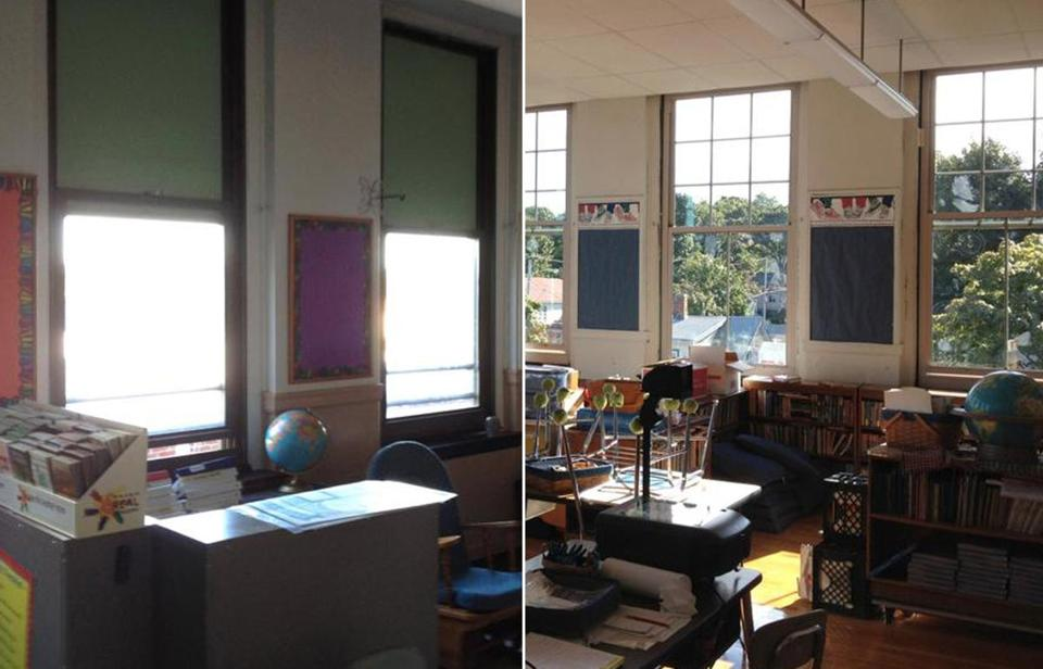 A classroom at Montclair Elementary School  in Quincy before (left) and after windows were replaced.