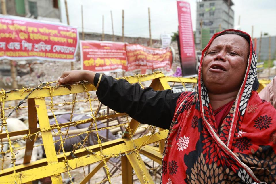 Lamia Begum joined relatives of workers killed at Rana Plaza in seeking compensation for their loss, months after the building collapsed in Bangladesh, killing 1,129 people.