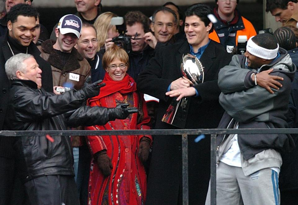 Richard Seymour, Robert Kraft, his son Jonathan, Myra Kraft, Tedy Bruschi, and Ty Law performed the Super Bowl victory dance at City Hall Plaza in 2004.
