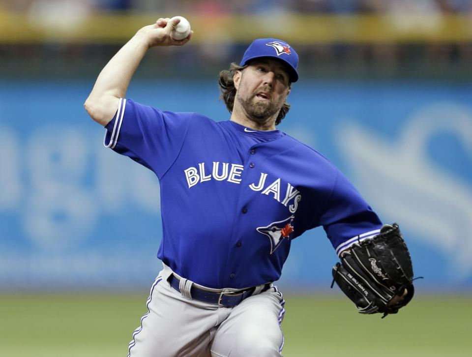 Blue Jays starter R.A. Dickey was in the zone, retiring the first 13 batters he faced in his complete game win over Tampa Bay.