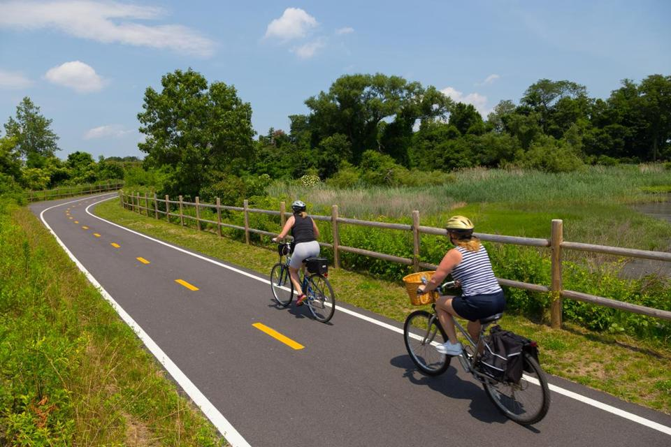 The  East Bay Bike Path, a popular rail trail that hugs the Narragagnsett Bay in Rhode Island.