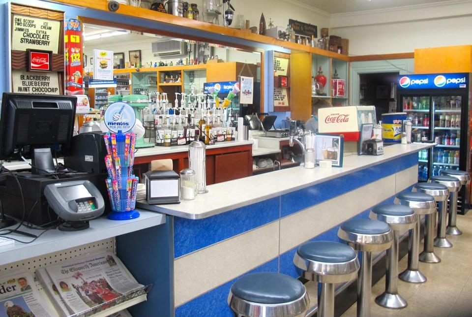 """Jimmies extra"" at West End Drug Store in Bar Harbor, where ice cream lovers can get an ice cream soda or a frappe and soak in some 20th-century soda fountain history."