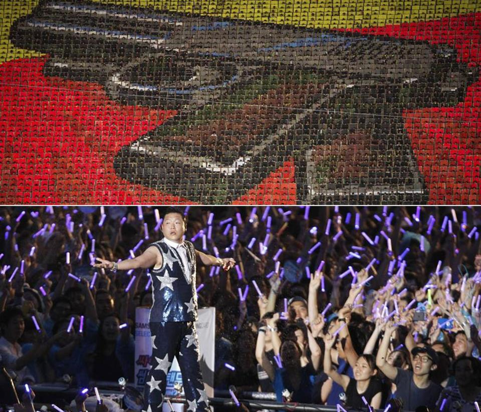 Top (North): Performers flipped colored cards to form a giant picture of a handgun in Pyongyang in August 2012; Bottom (South): Pop sensation Psy performed in Seoul in August 2012.