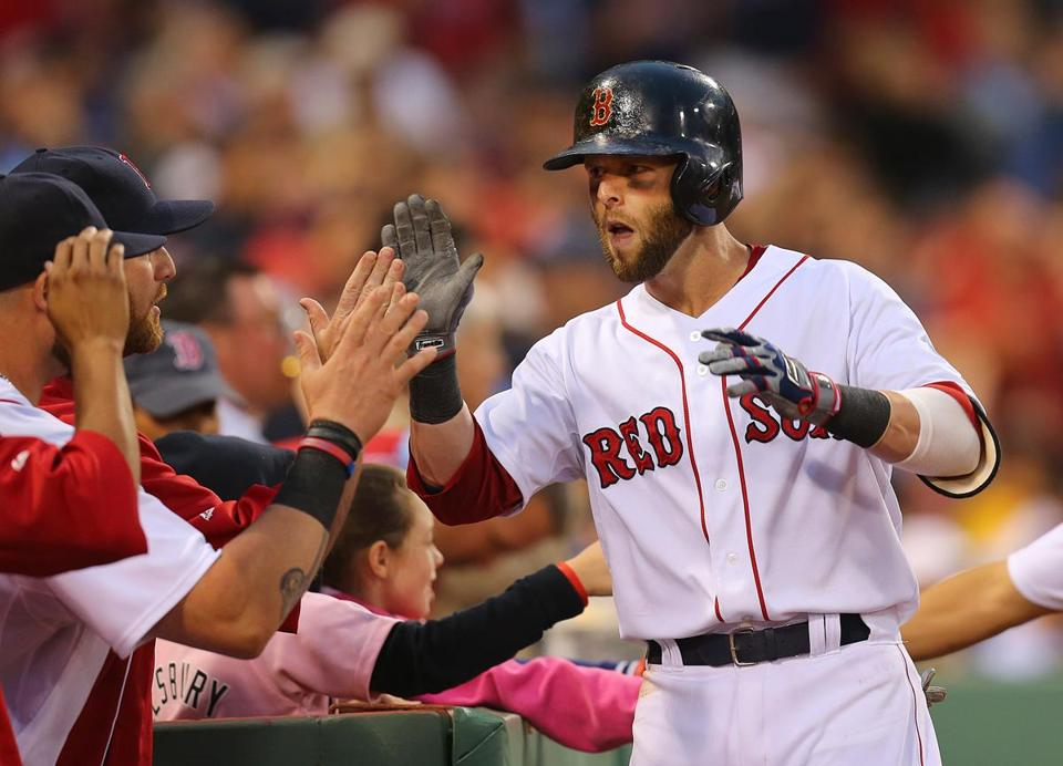 Dustin Pedroia was congratulated after hitting a two-run homer in the second inning.
