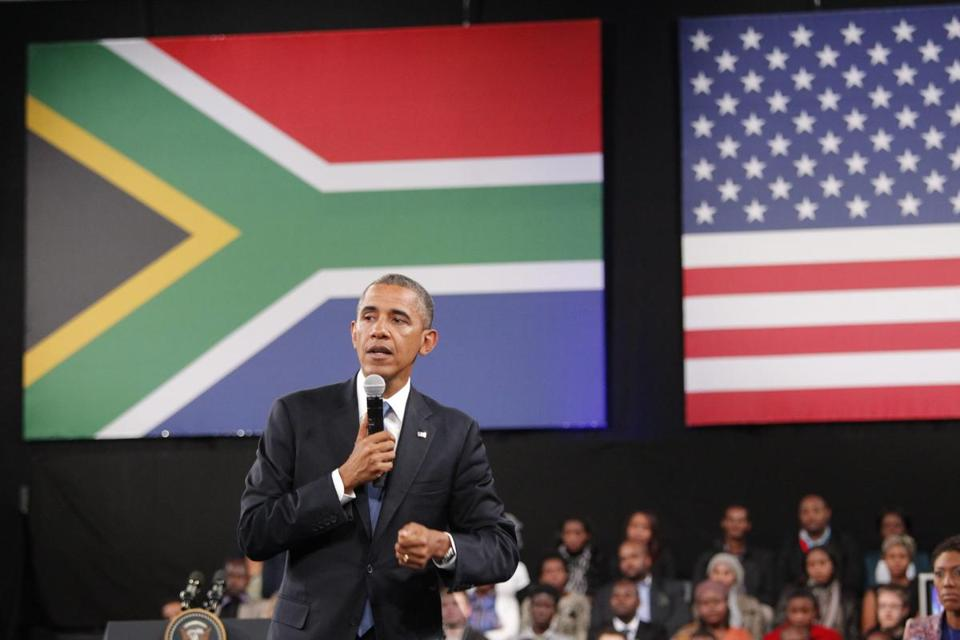 President Obama took questions during a Young African Leaders meeting at the Soweto University of Johannesburg.