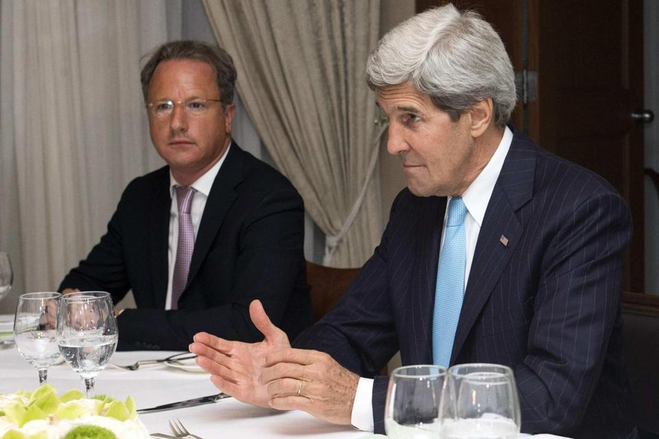 Secretary of State John Kerry (right) spoke to Israel's Prime Minister Benjamin Netanyahu (not pictured) during a meeting on Saturday.