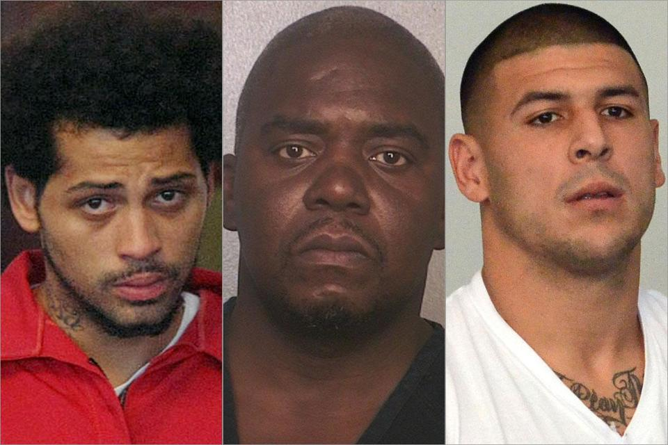From left, Carlos Ortiz, Ernest Wallace, and Aaron Hernandez are being held in the slaying of Odin Lloyd.