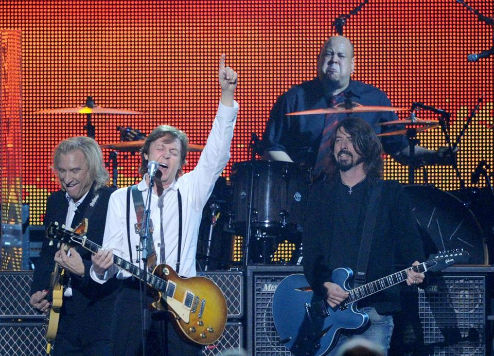 Abe Laboriel Jr., on drums, playing with (from left) Joe Walsh, Paul McCartney, and Dave Grohl in Los Angeles in 2012.