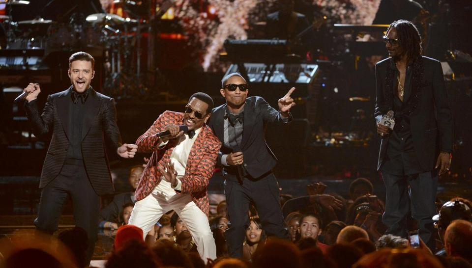 Justin Timberlake, Charlie Wilson, Pharrell Williams, and Snoop Lion at Sunday's BET Awards.