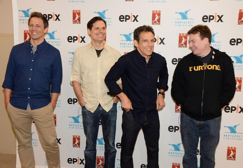 Comedy Roundtable participants (from left) Seth Meyers, Michael Ian Black, Ben Stiller, and Mike Myers.