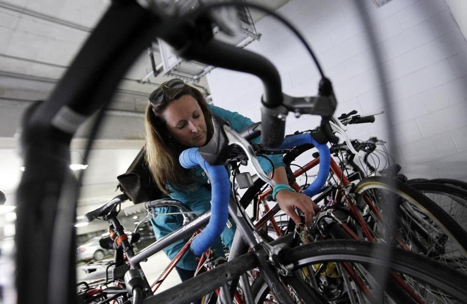 Casie Gillette locked her bike to a crowded rack as she arrived to work in Boston last week.