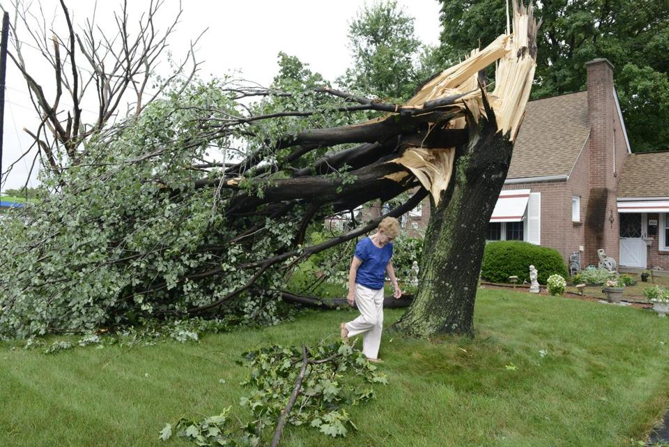 Carole J. Calabrese surveyed damage in front of her home on Monday in Agawam following a brief but strong storm.
