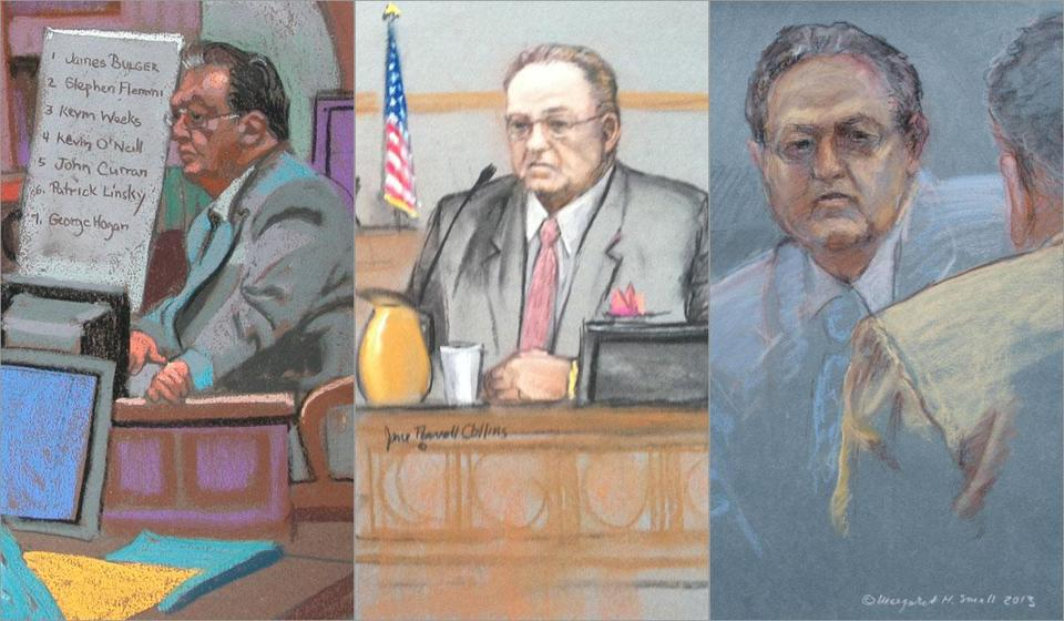 "The sketch artists provided their own perspective of the scene in the courtroom when John Martorano testified at James ""Whitey"" Bulger's trial."