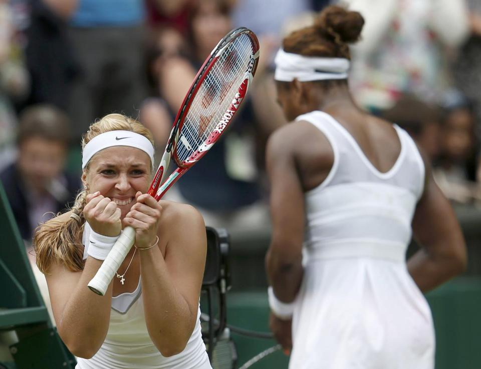 Sabine Lisicki (left) celebrates after eliminating Serena Williams.
