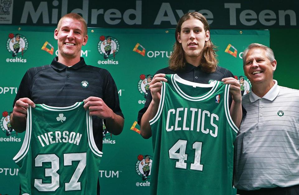 Celtics draft picks Colton Iverson and Kelly Olynyk are introduced during a team community event in Mattapan.