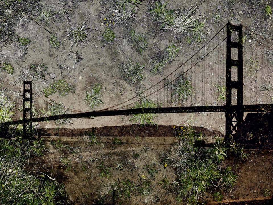 "Abelardo Morell's 2012 tent camera image ""View of the Golden Gate Bridge From Battery Yates."""
