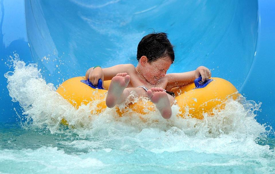Nine-year-old Chase Barrington, of Bourne, descended the Devil's Peak slide at Water Wizz in East Wareham.