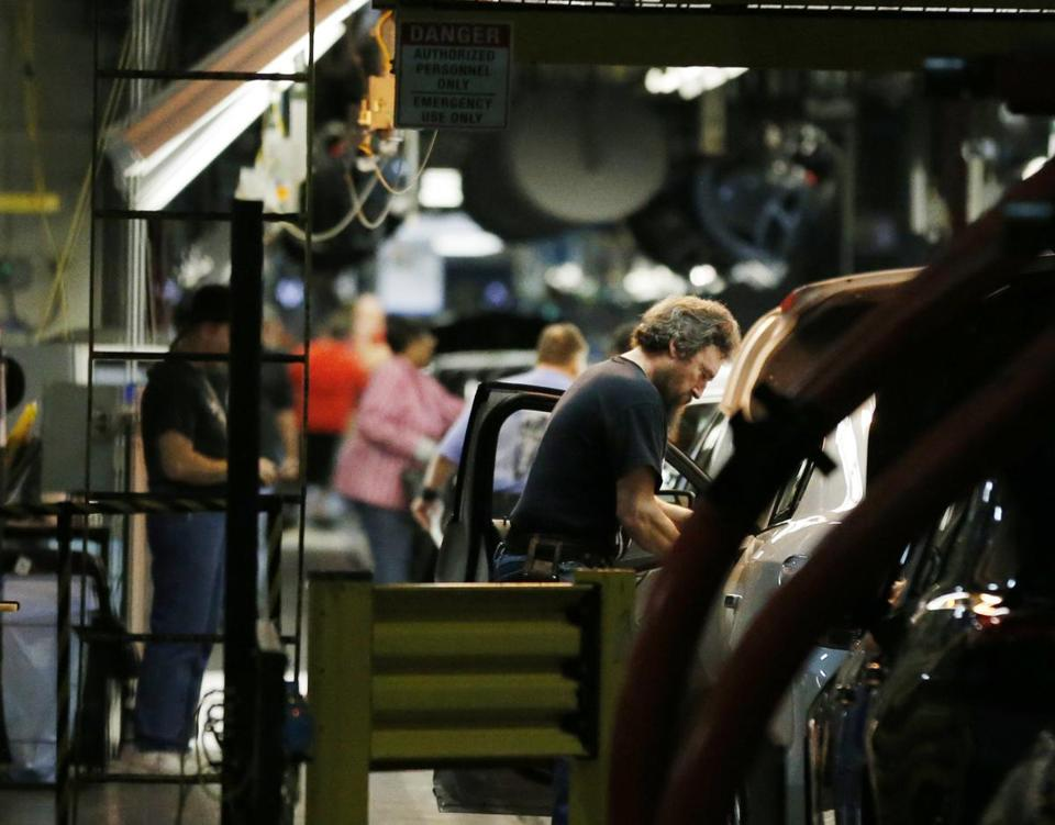 Workers at a GM plant in Kansas. The Commerce Department said factory orders rose 2.1 percent in May