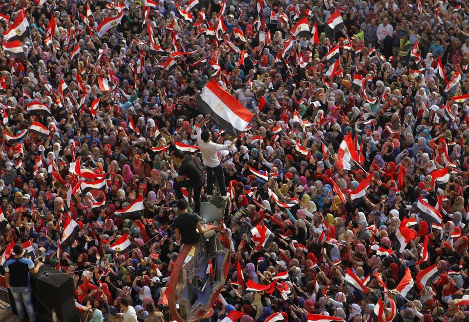 Demonstrators opposing President Mohammed Morsi shouted slogans and waved flags in Tahrir Square in Cairo.