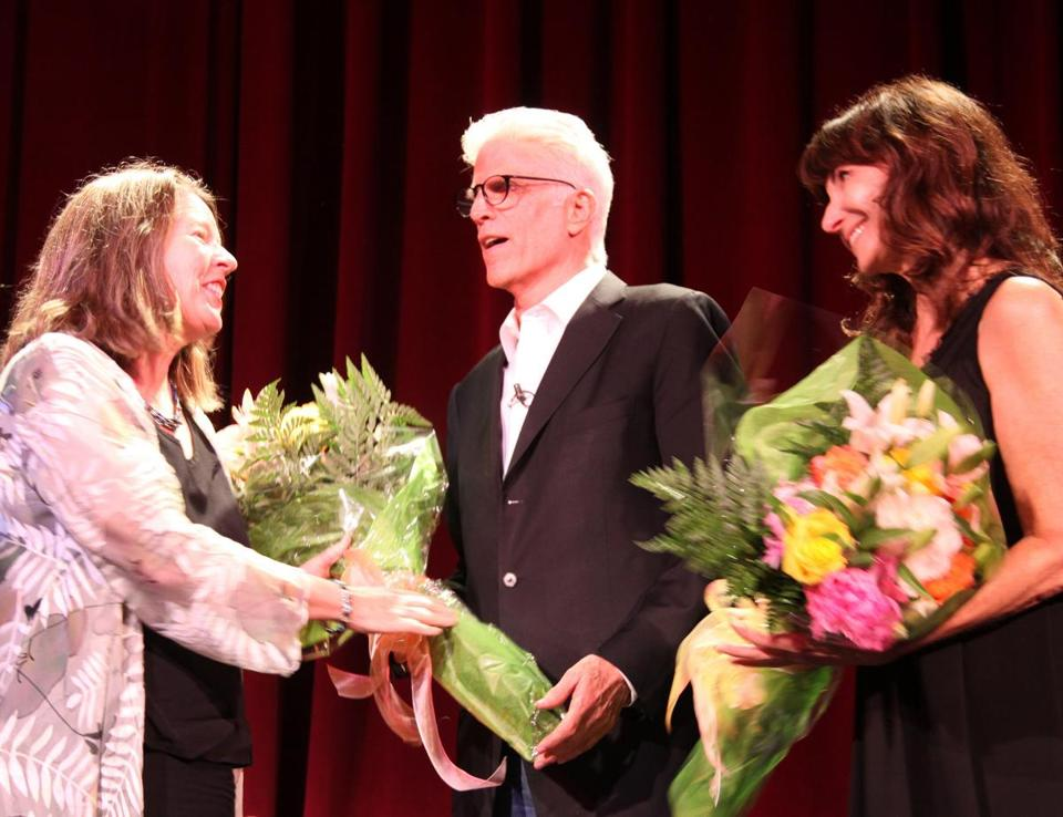MJ Bruder Munafo (left), artistic director of the Vineyard Playhouse,  with Ted Danson and Mary Steenburgen after their performance.