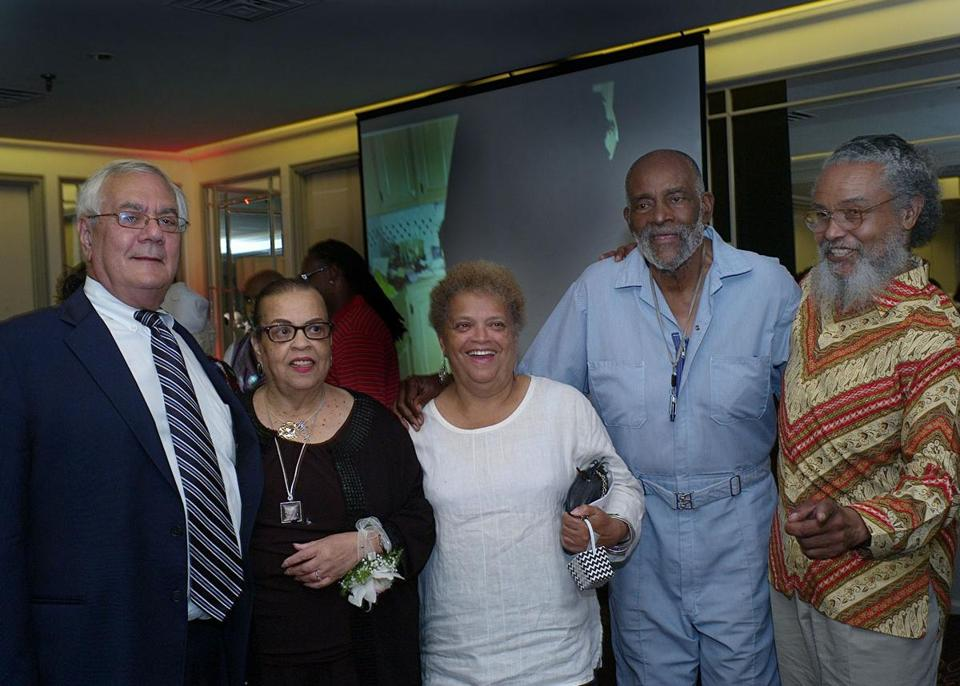 From left: Barney Frank, Doris Bunte, Saundra Graham, Mel King, and Byron Rushing at Bunte's birthday celebration at the Hyatt Hotel.