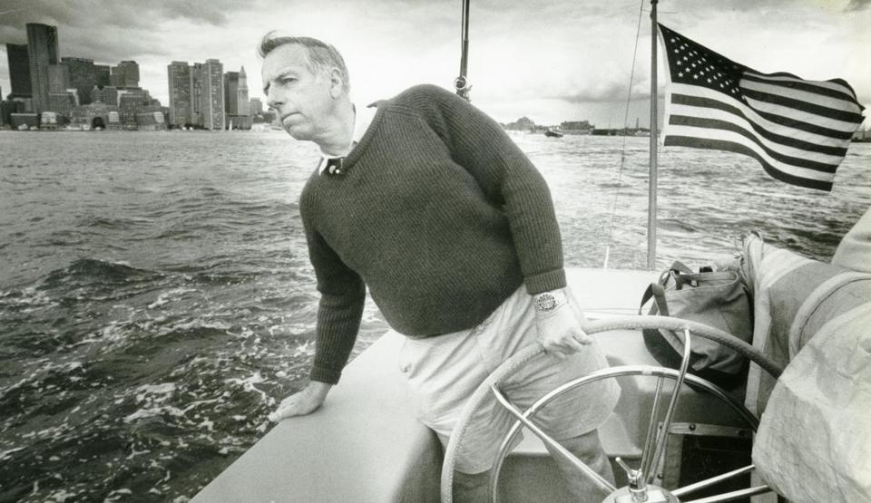 Ted Hood guided Courageous through Boston Harbor in 1988. He was inducted into the America's Cup Hall of Fame in 1993 and  into the National Sailing Hall of Fame in 2011.