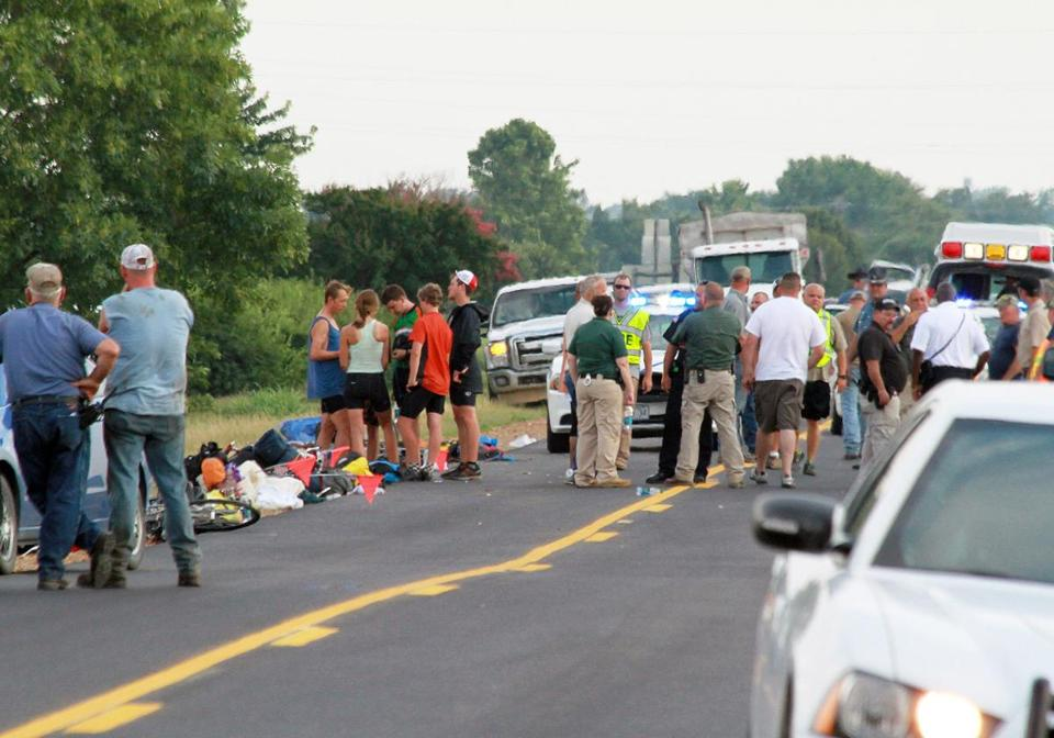 The scene of an accident in McCrory, Ark., after a car crashed into a group of cyclists, and three of them were taken by helicopter to hospitals in Memphis and Little Rock.