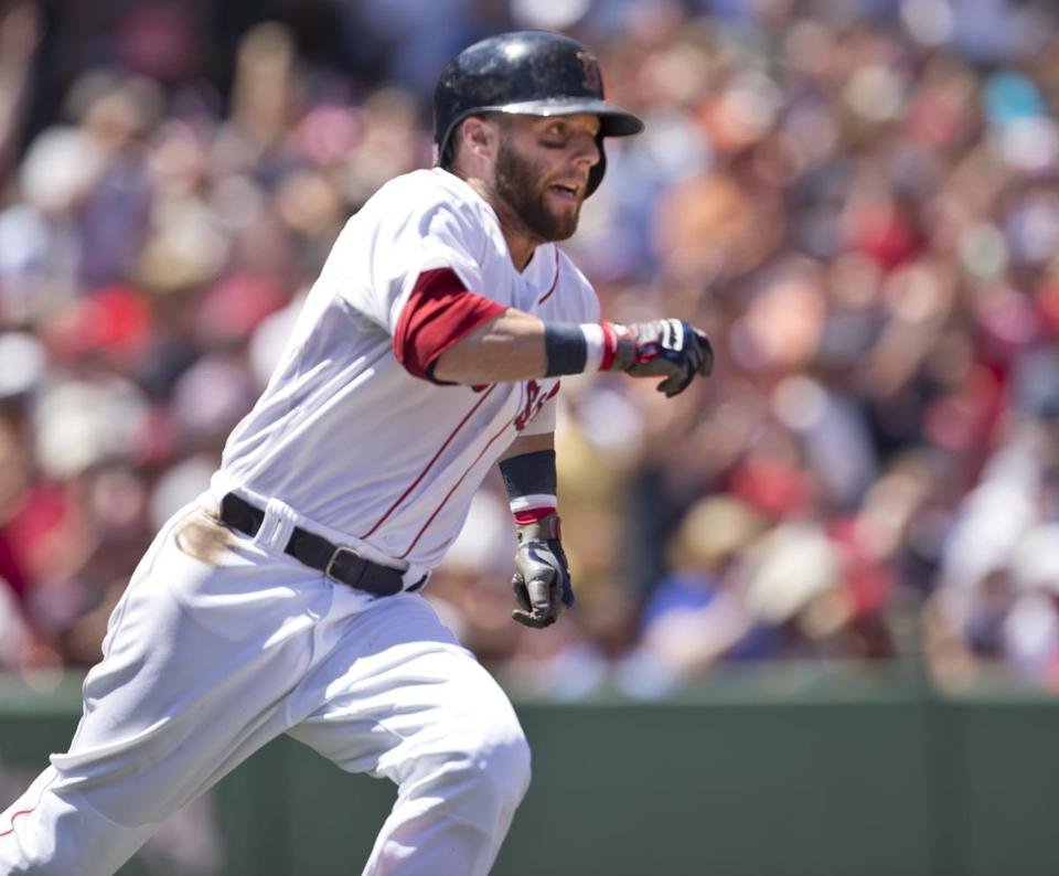 Dustin Pedroia's two-run double in the first was just one of the Red Sox' 18 hits.