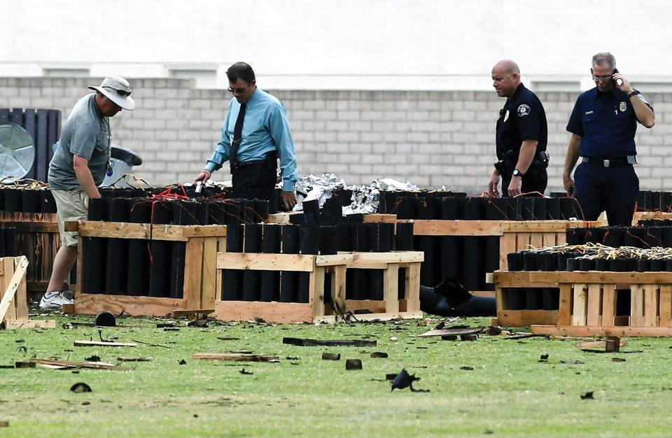 California officials investigated the site where a fireworks explosion injured more than three dozen on Thursday.