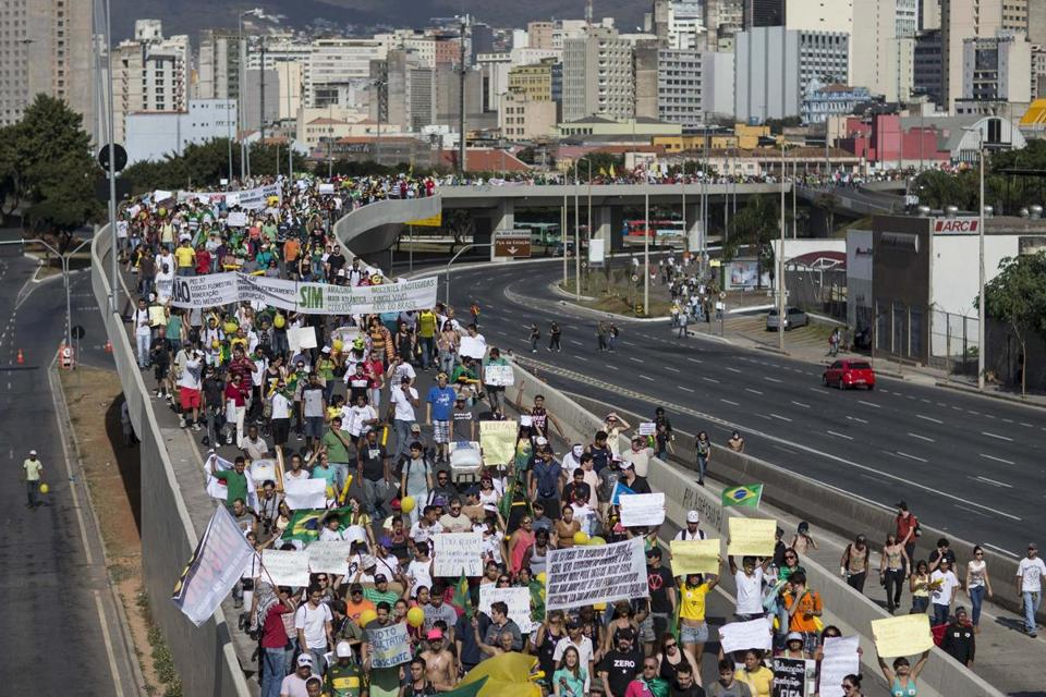 Demonstrators in Belo Horizonte, Brazil, marching toward the Mineirao soccer stadium late last month.