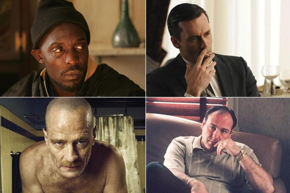 "Clockwise from top: Michael K. Williams in ""The Wire,"" John Hamm in ""Mad Men,"" James Gandolfini in ""The Sopranos,"" Bryan Cranston in ""Breaking Bad."""