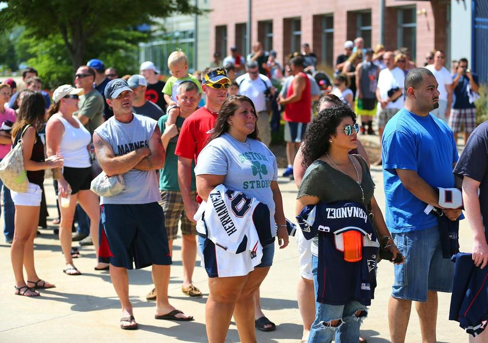 Hundreds of people waited in line at the Gillette Stadium pro shop to trade in Aaron Hernandez jerseys.