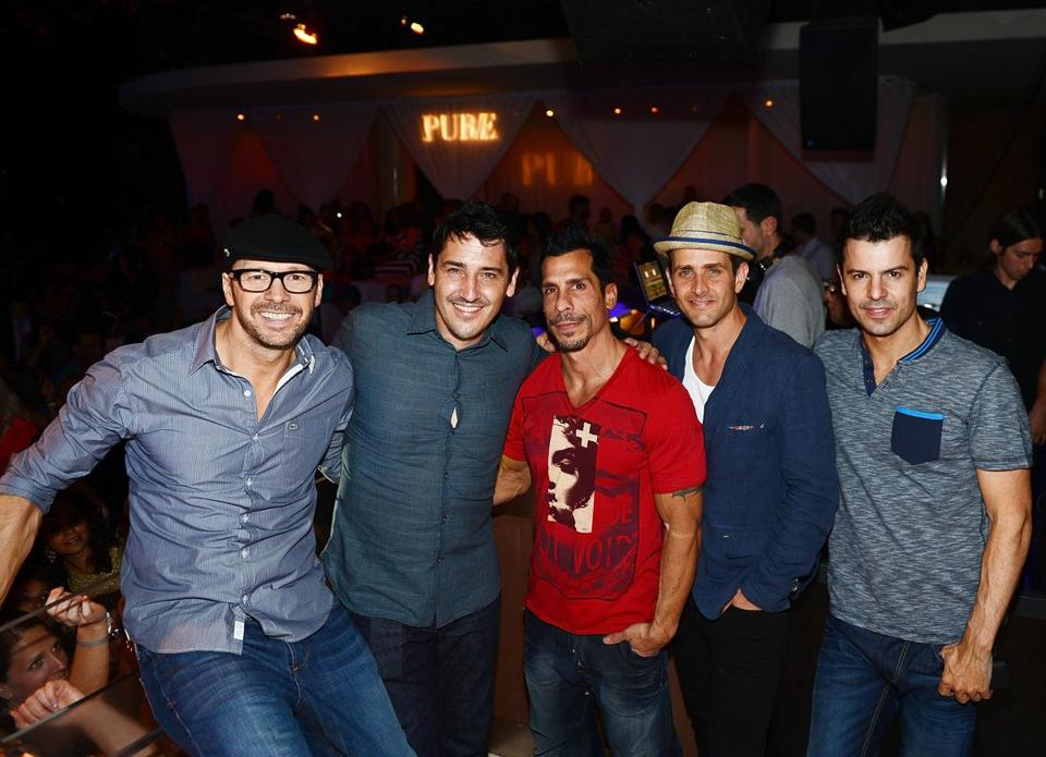 Donnie Wahlberg, Jonathan Knight, Danny Wood, Joey McIntyre and Jordan Knight of New Kids On The Block host at Pure Nightclub at Caesars