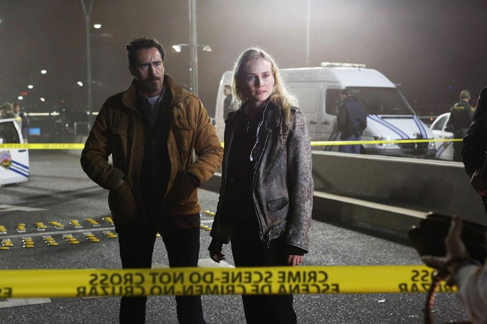 "Demian Bichir and Diane Kruger play buddy cops from different sides of the US-Mexico border in ""The Bridge."""