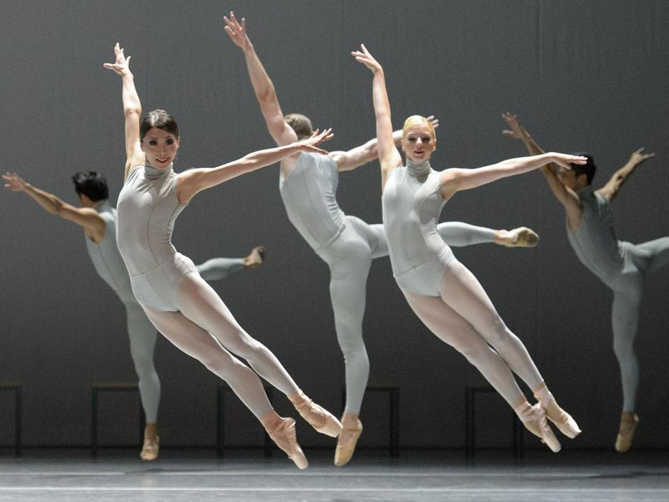 "At the London Coliseum, Boston Ballet dancers in William Forsythe's ""The Second Detail."""