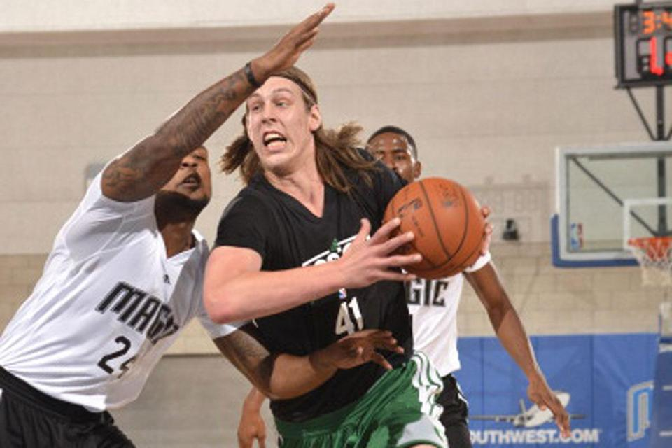 Celtics rookie Kelly Olynyk heads for the hoop in summer league.