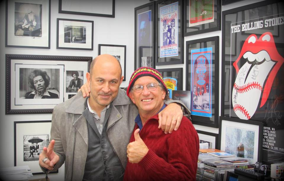 John Varvatos (left) and photographer Peter Simon at Varvatos's office in New York City.
