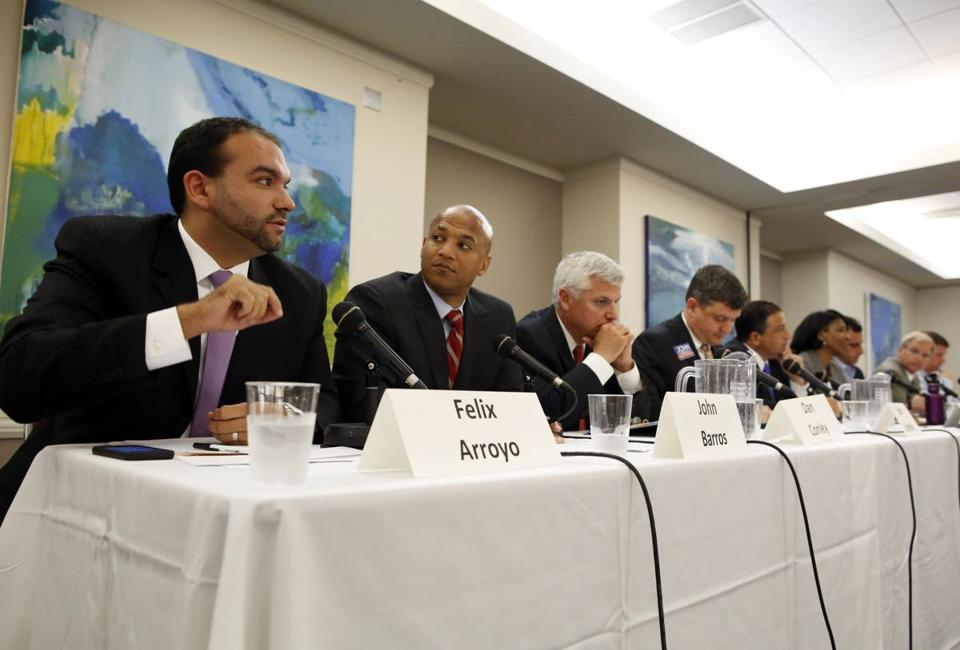 Nine of the 12 candidates for mayor, including (from left) Felix G. Arroyo, John Barros, Daniel F. Conley, John R. Connolly, Robert Consalvo, Charlotte Golar Richie, Michael P. Ross, Bill Walczak, and Martin J. Walsh, participated in the forum held by a group of business and environmental leaders.