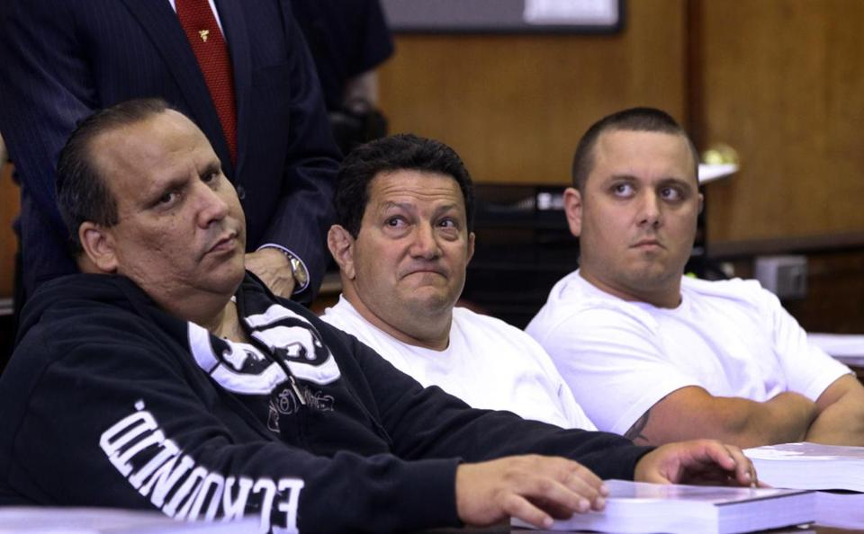 Anthony Santoro (left) and Vito Badano were among the reputed mobsters facing charges Tuesday in New York.