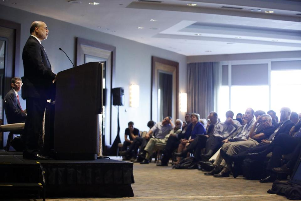 Fed Chairman Ben Bernanke spoke at the Sonesta Hotel in Cambridge.