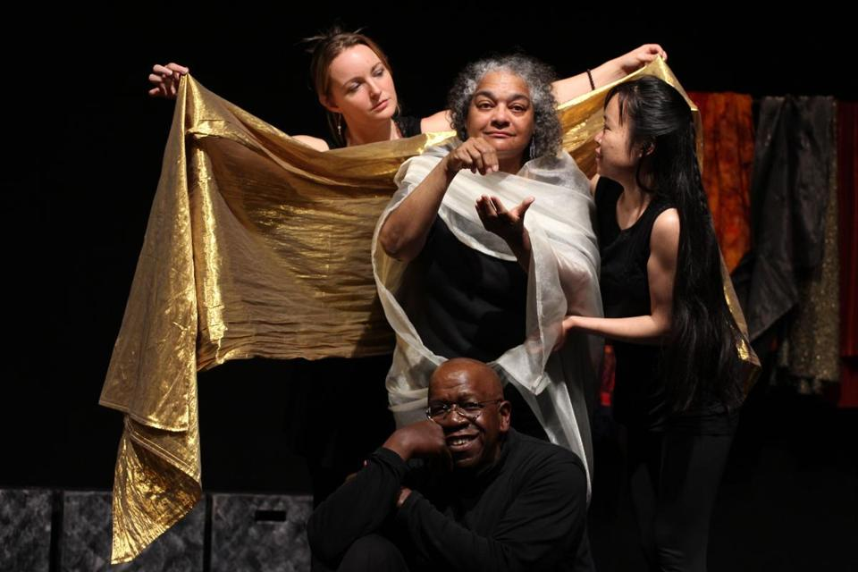 True Story Theater performers, including (clockwise from left) Michelle Mount, Tonia Pin-heiro, Ani Nguyen, and Kamau Hashim, act out situations shared by audience members.