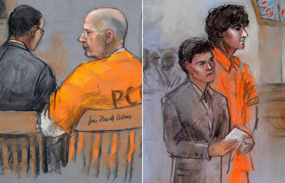 "James ""Whitey"" Bulger (left) and Dzhokhar Tsarnaev."