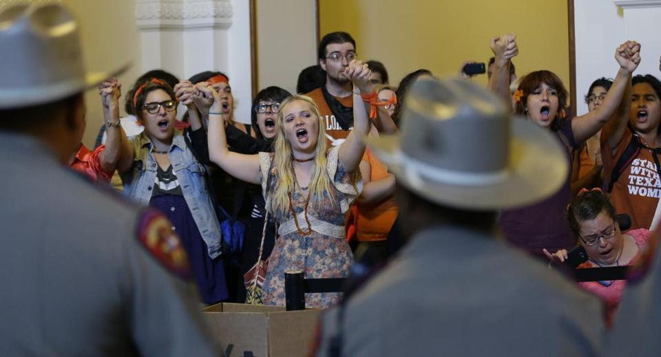 Opponents of the Texas abortion bill protested outside the state House on Wednesday.