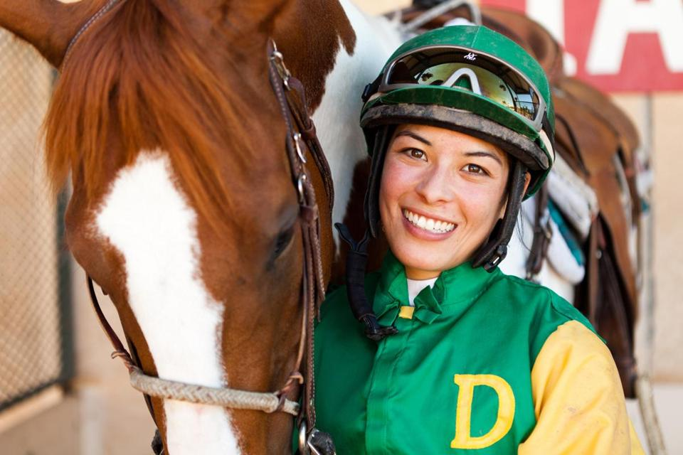 Jockey Kayla Stra is happy to be back at Hollywood Park following the birth of her son, Brys.