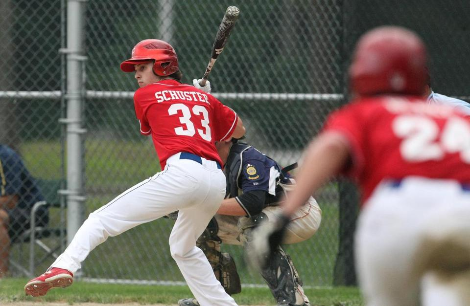 Tyler Schuster of Sharon (at the plate during Wednesday's game against Norfolk Post 335) and Adam Blake of Mansfield (leading off third base) are  two of the reasons why the Foxborough Post 93 American Legion team enjoys an 11-6 record.